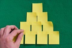tła grey odosobniony cieni majcherów kolor żółty Niezwykły drzewo Jaskrawi kolory Zielony tło Fotografia Stock