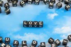 tła grunge letterpress miłości przypadkowy typ słowo Obraz Stock