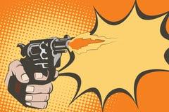 tła jaskrawy ilustracyjny pomarańcze zapas Ręki ludzie w stylu wystrzał sztuki i starych komiczek Broń w ręce ilustracja wektor