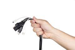 tła kabli ręki odosobniony biel Zdjęcie Stock