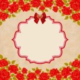 tła karcianego wystroju retro róż rocznik Zaproszenie, kartka z pozdrowieniami szablon Zdjęcia Royalty Free