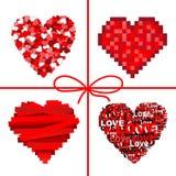 tła karcianych serc urocza czerwień Fotografia Royalty Free