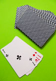 tła kart kasyna zielony bawić się Obrazy Royalty Free