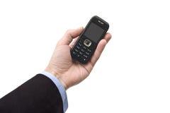 tła komórki ręki męski telefonu biel Zdjęcie Stock