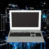 tła komputeru odosobnionego laptopu nowożytny technologii biel Zdjęcia Royalty Free