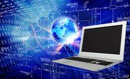 tła komputeru odosobnionego laptopu nowożytny technologii biel Fotografia Royalty Free