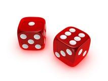 tła kostka do gry czerwony półprzezroczysty biel Obraz Stock