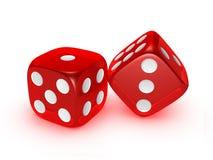 tła kostka do gry czerwony półprzezroczysty biel Fotografia Royalty Free