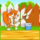 tła kreskówki lisa mały paintbrush Obraz Royalty Free