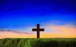 tła krzyża sylwetki zmierzch Fotografia Stock