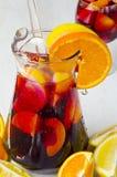tła kuchni ostrości pomarańcz paella czerwoni ryżowi selekcyjni spanish wine Świeży sangria obrazy stock