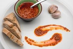 tła kuchni ostrości pomarańcz paella czerwoni ryżowi selekcyjni spanish wine Mojo Picon kumberland od wysp kanaryjska Fotografia Stock