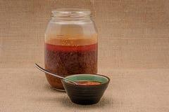 tła kuchni ostrości pomarańcz paella czerwoni ryżowi selekcyjni spanish wine Mojo Picon kumberland od wysp kanaryjska Obraz Stock