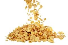 tła kukurydzanych płatków makro- pracowniany biel Zdjęcia Stock
