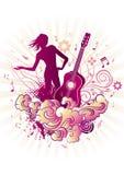 tła kwiecista dziewczyny gitara ilustracji