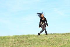 tła latającego dziewczyny włosy odosobniony biel Obrazy Royalty Free