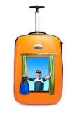 tła mężczyzna oceanu drogi walizka Zdjęcie Royalty Free
