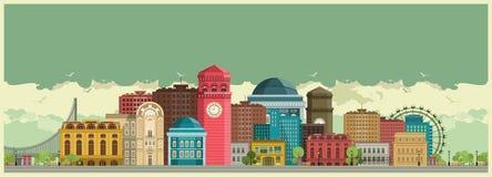 tła miasta noc ulica ilustracji
