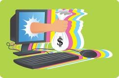 tła odosobniony pieniądze online biel Obrazy Stock