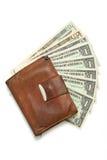 tła odosobniony rzemienny pieniądze portfla biel Zdjęcie Royalty Free