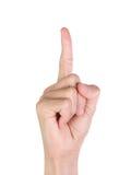 tła palca ręka odizolowywająca wskazujący biel Fotografia Royalty Free
