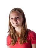 tła piękna kamery dziewczyna odizolowywał target1814_0_ uśmiechniętego nastoletniego biel Fotografia Stock