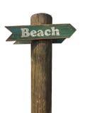 tła plaża odizolowywający szyldowy biały drewniany Zdjęcia Stock