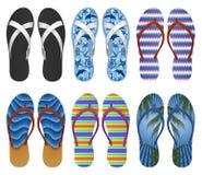 tła plaży trzepnięcia klap ilustracyjni odosobneni sandały ustawiający wektorowy biel Zdjęcie Royalty Free