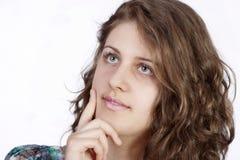 tła portreta uśmiechnięta biała kobieta Obrazy Stock