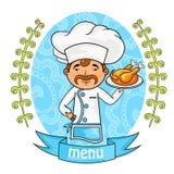 tła projekta menu warzywa szef kuchni trzyma tacę z kurczakiem wektor Obraz Stock