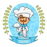 tła projekta menu warzywa szef kuchni z tacą w jego ręki wektor Zdjęcie Royalty Free