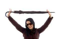tła przewożenia żeński parasolowy biel Obraz Stock