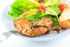 tła pucharu kurczak odizolowywał pietruszki brzoskwini kawałków ryżowego sałatkowego biel Obrazy Royalty Free
