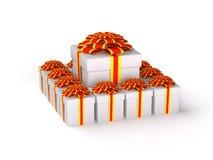 tła pudełkowatego prezenta odosobniony biel Fotografia Stock