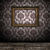 tła pusta ramowa złocista rocznika ściana Zdjęcie Royalty Free