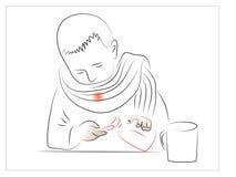 tła ręka odizolowywająca nad miejsca chorą bolesnego gardła białą kobietą Obrazy Royalty Free