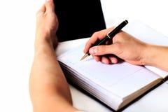 tła ręka robi nad wyboru biały writing Zdjęcie Stock