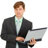 tła ręki laptopu mężczyzna biel Fotografia Stock