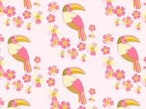 tła romantyczny kwiecisty kreskówki tęczy pieprzojada ptak royalty ilustracja