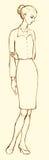 tła rysunku ołówka drzewny biel Nakreślenie młoda biznesowa kobieta Zdjęcie Stock