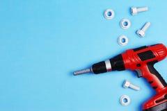 tła szablonu teksta zabawki Zabawek narzędzia na Błękitnym tle Odgórny widok Obrazy Stock