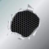 tła sześciokąta dziury kruszcowy poniższy Fotografia Stock