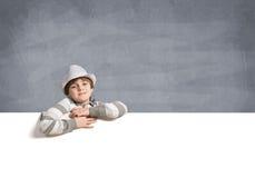 tła sztandaru chłopiec odizolowywająca nad biel Zdjęcie Stock