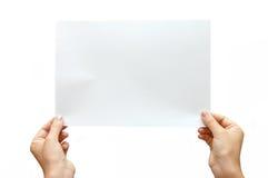 tła sztandaru ręka odizolowywający papierowy biel Obraz Stock