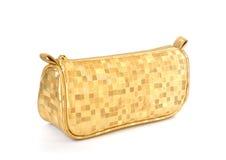 tła torby żeński złoty odosobniony biel Zdjęcia Stock