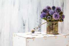 Tła wciąż życia kwiatu słonecznikowy drewniany biały rocznik Obraz Royalty Free