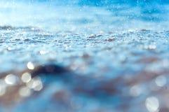 Tła wodny błękit, abstrakcjonistyczny tło i bokeh, wodny tło bławy Obrazy Royalty Free