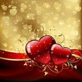 tła złoci serc valentines ilustracja wektor