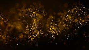 Tła złota ruch Wszechrzeczy złocisty pył z gwiazdami na czarnym tle Ruchu abstrakt cząsteczki ilustracji