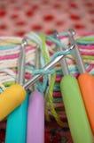 tła zakończenia crochet haczy dzianie Zdjęcie Royalty Free